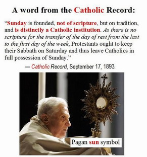 Catholic Record of the Sabbath to Sunday change